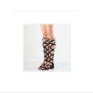 Shoes - Black Suede Knee High Cut-out Lace-Up Sandals